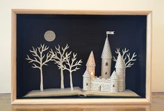 Castle paper art lightbox by Ele Grafton - She can create any scene you want! A really original christening or Birthday present.