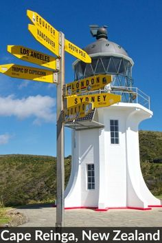 The famous lighthouse at Cape Reinga, the top of the North Island in New Zealand   ..rh