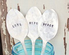 Set of THREE Love, Hope, and Peace Vintage Garden Plant Spoons - Inspirational - Antique Silver Plated - Hand Stamped - Rustic  $20