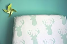NEW fitted crib sheet in mint deer exclusive to by iviebaby, $55.00