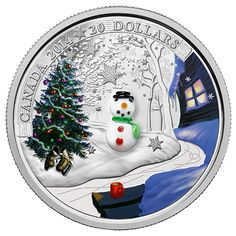 Canada 20 Dollars Silver Coin 2014 Venetian Glass Snowman When the dark, cold winter descends upon Canadians, like true northerners w. Venetian Glass, Murano Glass, Canadian Coins, Snow Covered Trees, Red Mug, Christmas Tree Painting, Coins For Sale, Silver Bullion, World Coins