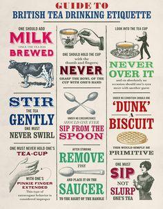 British Tea Drinking Etiquette infographic poster - Steapunk-esque / Victoriana design