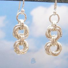 Sterling Silver Earrings, Double Mobius Flower Chain Mail,