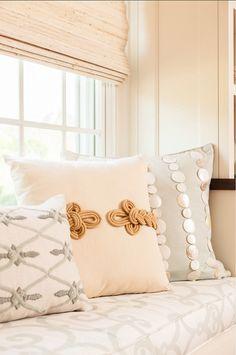 Coastal Fabric Ideas. Coastal fabric and coastal pillow ideas. Bolster pillow is from Aidan Gray. #CoastalFabrics #CoastalPillows #Coastal