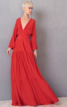 Red Plunging V-Neck Red Gown by Alexis | Moda Operandi