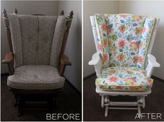 Before and After Nursery Glider Rocker Refurbished Furniture, Repurposed Furniture, Kids Furniture, Bedroom Furniture, Rustic Furniture, Glider Rocker Cushions, Glider Chair, Recover Glider Rocker, Glider Redo
