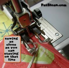 """Pat sloan machine binding tutorial. Tried this yesterday. Works great as long as you sew on the line! I used regular double-fold binding, cut at 2 1/4"""" wide."""
