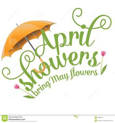April Clip Art | April Showers Bring May Flowers Design Stock Vector - Image: 49885310