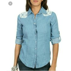 ⭐PRICE FIRM⭐WET SEAL LACE DENIM SHIRT It's a little wrinkled from being in my closet so long! It has super cute lace detailing on the soulders. There is nothing wrong with it and it needs a good home.  Feel free to make an offer! NO TRADES Wet Seal Tops Button Down Shirts