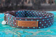 Polka Dot Dog Collar Brown Mint Dog Collar Stylish by DoggyBanda