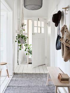 Sur cette photo j'aime : * Le tapis gris sur le parquet blanc * La lumière * La plante suspendue * Le banc d'entrée en bois clair au design très simple * Le tabouret bi color