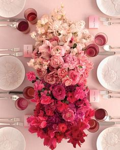 Ombre floral centerpiece for weddings or more formal events