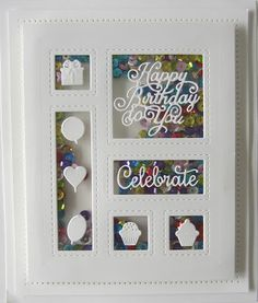 Good Sunday morning all! Two Birthday Shadow Box cards for your enjoyment today! The first one is more soft and mellow in a vintage so. Handmade Birthday Cards, Birthday Gifts, Handmade Cards, Happy Birthday, Fall Cards, Christmas Cards, Spellbinders Cards, Shaker Cards, Shadow Box