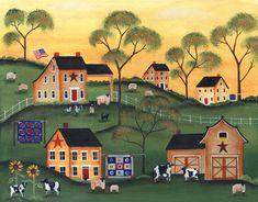 Americana Sunrise Farm of Yesteryear FOlk Art Print 12x16 - cherylbartleydesigns