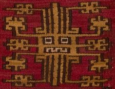 Muzeion - Nazca/Huari Textile with 4 Warriors holding Power Scepter and Trophy Heads over Red Background.