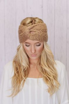 Knitted Turband Headband Ear Warmer Twist Style by ThreeBirdNest, $168.00