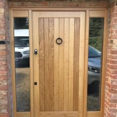 Solid Oak Door With Glazed Sidelights Timber Front Door, Wooden Front Doors, Modern Front Door, Front Door Design, Cottage Front Doors, House Front Door, Front Porch, Contemporary Front Doors, Contemporary Style