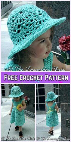Little Girls Lacy Shells Dress&Hat Set Crochet Free Patterns