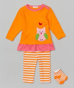 Look what I found on #zulily! Orange & Pink Owl Ruffle Tunic Set - Infant #zulilyfinds