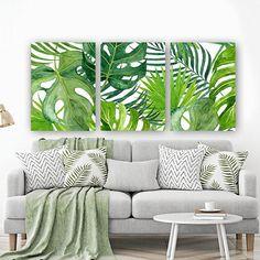 BANANA LEAF Wall Art, Tropical Bedroom Wall Decor, CANVAS or Prints, Palm Watercolor, Floral Green Bathroom Decor, Home Decor, Set of 3