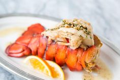 Broiled Lobster Tail! With a brown butter sauce and toasted hazelnuts. Easy, quick, and delicious! On SimplyRecipes.com