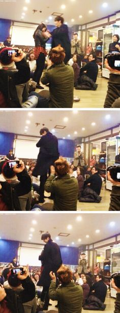 "Woo Bin and Shin Hye acting out Young Do and Eun Sang's hug scene at ""THE HEIRS"" Celebration Party ♡ #Kdrama // The #HEIRS"
