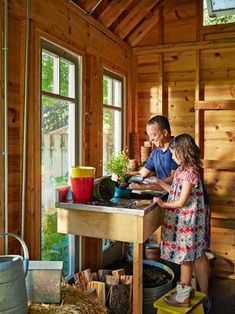 toh reader Matthew Grubaugh with daughter hazel potting up container plant edibles inside potting shed he designed on a CAD Container Herb Garden, Container Plants, Recycling Containers, Homestead Gardens, Growing Gardens, Outdoor Tables, Outdoor Decor, Potting Sheds, Urban Farming