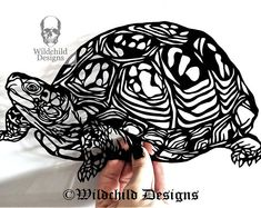 Tortoise Paper Cutting Template for Personal or Commercial Use Papercut Cut by Wildchild Designs Animal Pet