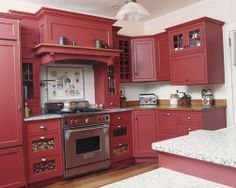 painted cabinets with red granite - Google Search