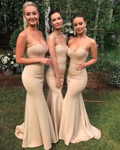 Mermaid Sweetheart Sexy Wedding Party Dresses Strapless Long Bridesmaid Dresses SSM, This dress could be custom made, there are no extra cost to do custom size and color. Cheap Bridesmaid Dresses Online, Champagne Bridesmaid Dresses, Mermaid Bridesmaid Dresses, Prom Dresses, Girls Dresses, Evening Dresses, Golden Dress, Wedding Dress Gallery, Mermaid Sweetheart