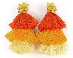 Large Yellow Tassel Earrings Three Tiered Tassel Earrings