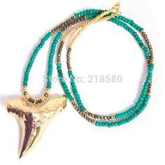 N15013102 Bohème Bijoux Or Dent de Requin Collier Long Howlite et Pyrite Perlé Collier