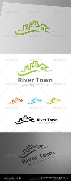 Home River City Real Estate  Logo Design Template Vector #logotype Download it here:  http://graphicriver.net/item/home-river-city-real-estate-logo/8513588?s_rank=1476?ref=nesto