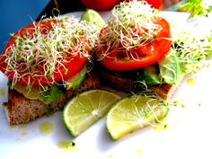 food and thrift: Vegan Avocado-Tomato Toasts...for #greenslove