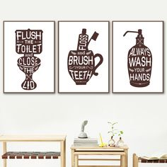 """""""Gohipang Toilet Toothbrush Wash Hand Soap Wall Art Canvas Painting Nordic Posters And Prints Wall Pictures For Bathroom Washroom"""" Funny Bathroom Art, Funny Wall Art, Bathroom Wall Art, Washroom, Canvas Frame, Wall Canvas, Canvas Art, Bathroom Pictures, Wall Pictures"""