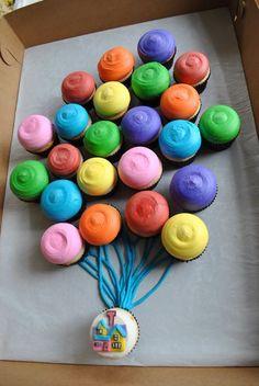 UP party theme; cupcakes Cute Cupcakes, Cupcake Cookies, Balloon Cupcakes, Themed Cupcakes, Party Cupcakes, Movie Cupcakes, Balloon Cake, Balloon Bouquet, Ladybug Cupcakes