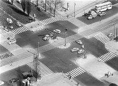 Zebrastreifen an Kreuzung Messedamm / Masurenallee Berlin 1957