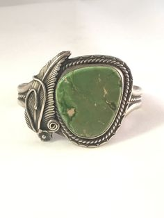 Vintage Navajo Sterling Silver Green Turquoise Cuff