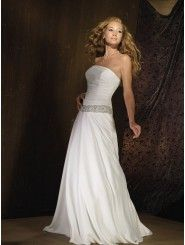 Organdy Strapless Fitted Bodice A-line Wedding Dress