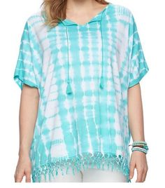 Chaps Size 3x NWT TURQUOISE & WHITE Tie Dye Poncho Style Fringed Top  | eBay