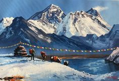 Mount Everest View from Gokyo Lake, Acrylic Painting in Canvas. This is original painting of Mount Everest Sagarmatha, the highest peak on earth- by our expert artist, one of the finest art/ painting. Landscape Tattoo, Landscape Drawings, Watercolor Landscape, Landscape Paintings, Watercolor Art, Knife Painting, Acrylic Painting Canvas, Great Paintings, Original Paintings