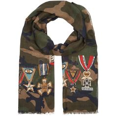 Valentino Garavani Lightweight Camouflage Print Scarf ($420) ❤ liked on Polyvore featuring accessories, scarves, chunky scarves, valentino scarves, camo scarves, military scarves and logo scarves