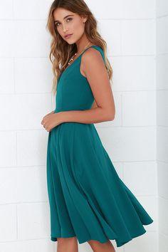 Of My Dreams Teal Blue Midi Dress at Lulus.com!