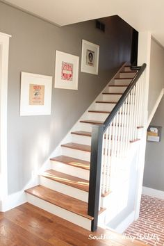 Feature Friday: Southern Living Idea House in Senoia, GA - Southern Hospitality Gray Bedroom Walls, Bedroom Wall Colors, Grey Walls, Grey Bedrooms, Black Stair Railing, Banister Remodel, Oak Trim, Southern Living Homes, Living Room Carpet