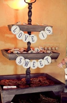 Shabby chic cookie stand for wedding ... I like the signage for near my cookie table!!