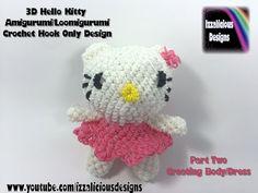 Rainbow Loom 3D Hello Kitty Amigurumi/Loomigurumi Body - PART TWO - Hook Only Loomless (Loom-less) tutorial by Izzalicious Designs.
