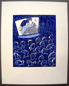 Linocut, cinema, poster International Film Festival Rotterdam