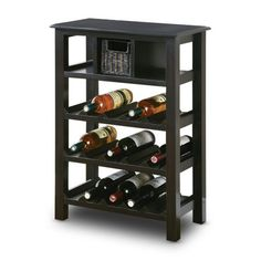Distressed Black Wine Rack with Basket Drawer    The Foundry - $154.00