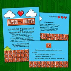 Level up your wedding with custom Retro 8-Bit Video Game Wedding Invitations by PuttinOnTheGlitz4U on Etsy.  Inspired by Super Mario Bros., they'll let everyone see how wonderful geek love can be!