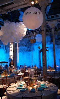 "Here's a twist on the original helium balloon. This event created ""hot-air balloons"" and ""fluffy clouds""! How very clever!"